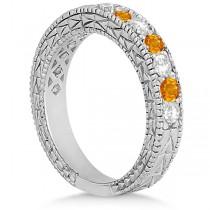 Antique Diamond & Citrine Bridal Set 14k White Gold (1.80ct)
