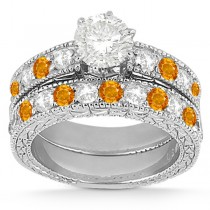 Antique Diamond & Citrine Bridal Set 18k White Gold (1.80ct)