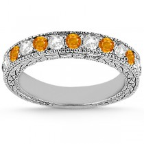 Antique Diamond & Citrine Bridal Set 18k White Gold (1.80ct)