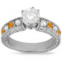 Antique Diamond & Citrine Bridal Set Platinum (1.80ct)