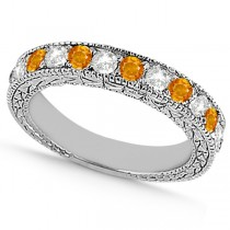 Antique Diamond & Citrine Wedding Ring 14kt White Gold (1.05ct)