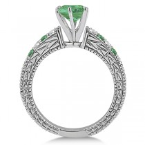 Diamond & Emerald Vintage Engagement Ring in 18k White Gold (1.75ct)