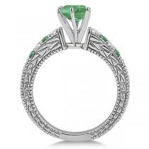 Diamond & Emerald Vintage Wedding Bridal Set in 14k White Gold (2.80ct)
