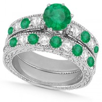 Diamond & Emerald Vintage Wedding Bridal Set in 18k White Gold (2.80ct)