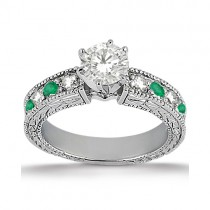 Antique Diamond & Emerald Engagement Ring 14k White Gold (0.72ct)
