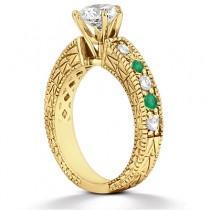Antique Diamond & Emerald Engagement Ring 14k Yellow Gold (0.72ct)