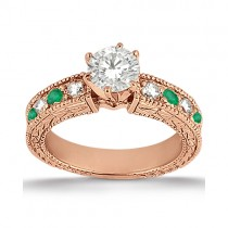 Antique Diamond & Emerald Engagement Ring 18k Rose Gold (0.72ct)