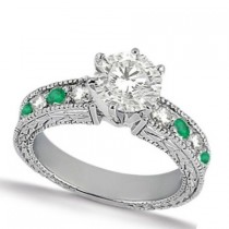 Emerald & Diamond Vintage Engagement Ring 14k White Gold (1.50ct)