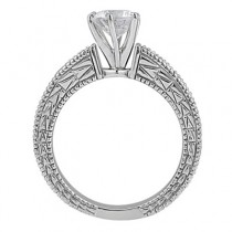 Emerald & Diamond Vintage Engagement Ring 14k White Gold (1.75ct)