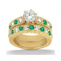 Antique Diamond & Emerald Bridal Set 14k Yellow Gold (1.75ct)