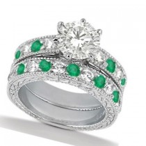 Diamond & Genuine Emerald Vintage Bridal Set 14k White Gold (2.50ct)