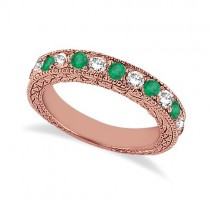 Antique Diamond & Emerald Wedding Ring 14kt Rose Gold (1.03ct)