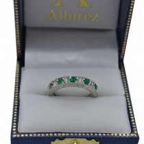 Antique Diamond & Emerald Wedding Ring 14kt White Gold (1.03ct)