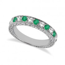 Antique Diamond & Emerald Wedding Ring Palladium (1.03ct)
