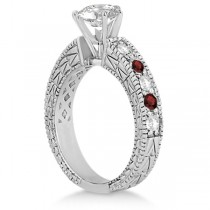Antique Diamond & Garnet Engagement Ring 14k White Gold (0.75ct)