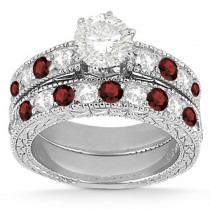 Antique Diamond & Garnet Bridal Set 14k White Gold (1.80ct)
