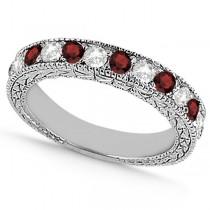 Antique Diamond & Garnet Wedding Ring 18kt White Gold (1.05ct)