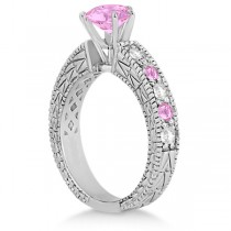 Diamond & Pink Sapphire Vintage Engagement Ring in 18k White Gold (1.75ct)
