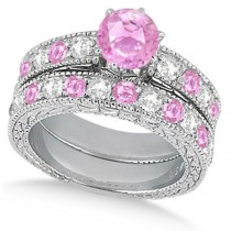 Diamond & Pink Sapphire Vintage Wedding Bridal Set in 18k White Gold (2.80ct)