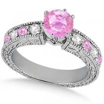 Diamond & Pink Sapphire Vintage Wedding Bridal Set in 18k White Gold (2.80ct)