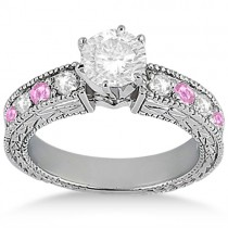 Antique Diamond & Pink Sapphire Engagement Ring 14k White Gold (0.75ct)