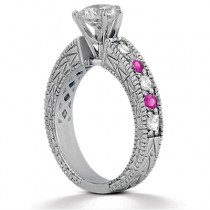 Antique Diamond & Pink Sapphire Engagement Ring 18k White Gold (0.75ct)