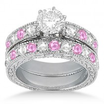 Antique Diamond & Pink Sapphire Bridal Set 14k White Gold (1.80ct)