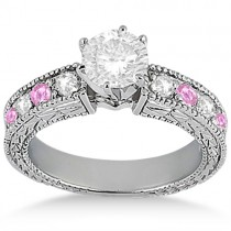 Antique Diamond & Pink Sapphire Bridal Set 18k White Gold (1.80ct)