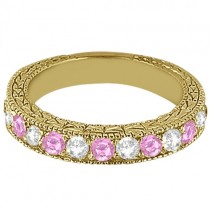 Antique Pink Sapphire and Diamond Wedding Ring 14kt Yellow Gold (1.05ct)