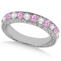 Antique Pink Sapphire and Diamond Wedding Ring Platinum (1.05ct)