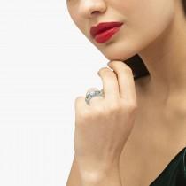 Antique Diamond & Peridot Engagement Ring 14k White Gold (0.75ct)