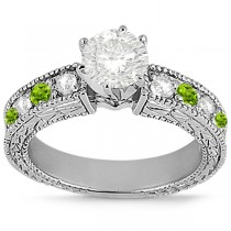 Antique Diamond & Peridot Engagement Ring 18k White Gold (0.75ct)