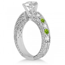 Antique Diamond & Peridot Engagement Ring 18k White Gold (0.75ct)