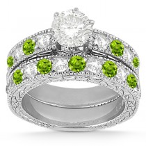 Antique Diamond & Peridot Bridal Set 14k White Gold (1.80ct)