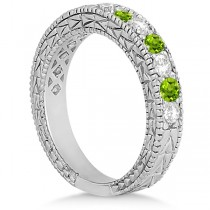 Antique Diamond & Peridot Wedding Ring 18kt White Gold (1.05ct)