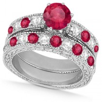 Diamond & Ruby Vintage Wedding Bridal Set in 14k White Gold (2.80ct)