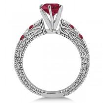 Diamond & Ruby Vintage Wedding Bridal Set in 14k White Gold (2.80ct)