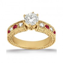 Antique Diamond & Ruby Engagement Ring 14k Yellow Gold (0.75ct)