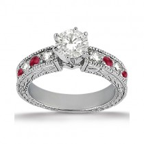 Antique Diamond & Ruby Engagement Ring Palladium (0.75ct)