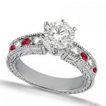 Genuine Ruby & Diamond Vintage Engagement Ring 14k White Gold (1.50ct)