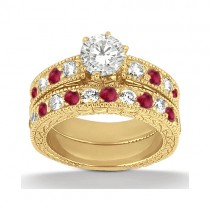Antique Diamond & Ruby Bridal Set 18k Yellow Gold (1.80ct)