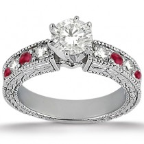 Antique Diamond & Ruby Bridal Set Palladium (1.80ct)