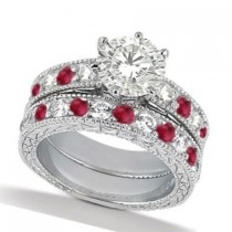Diamond & Genuine Ruby Vintage Bridal Set 14k White Gold (2.80ct)
