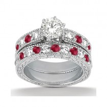 Antique Diamond & Ruby Bridal Set Platinum (1.80ct)
