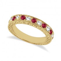 Antique Diamond & Ruby Wedding Ring 14kt Yellow Gold (1.05ct)