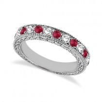 Antique Diamond & Ruby Wedding Ring 18kt White Gold (1.05ct)