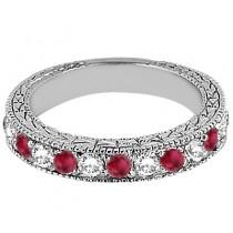 Antique Diamond & Ruby Wedding Ring Palladium (1.05ct)