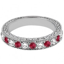 Antique Diamond & Ruby Wedding Ring Platinum (1.05ct)