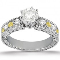 White and Yellow Diamond Engagement Ring Setting Palladium 0.70ct
