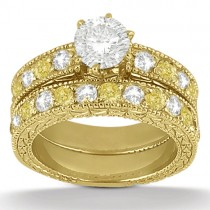 White & Yellow Diamond Engagement Ring & Band 14K Yellow Gold (1.61ct)